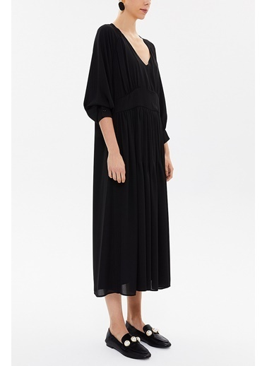 Societa V Yaka Büzgülü Bol Kesim Midi  Elbise 92479 Siyah